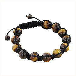 11mm Tiger Eye Beads and Black String 12 Bead Shamballa Bracelet