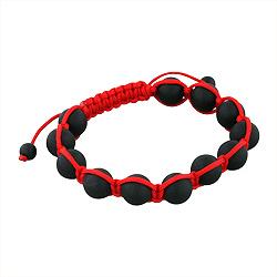 10mm Matte Black Onyx Beads and Red String 12 Bead Shamballa Bracelet