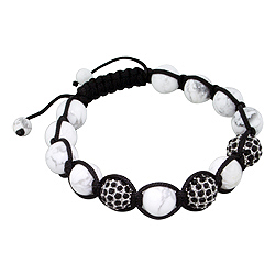 10mm White Turquiose and Black Rhinestones Disco Ball Beads and Black String 13 Bead Shamballa Brace