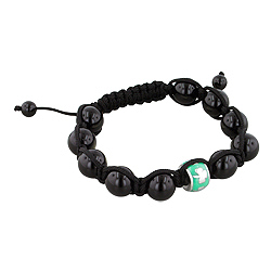 11.5mm Shamrock on Green Enamel Bead and 10mm Black Onyx Beads 11 Bead Shamballa Bracelet with Black