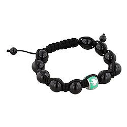 11.5mm Shamrock on Green Enamel Bead and 10mm Black Onyx Beads 11 Bead Shamballa Bracelet with Black