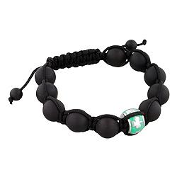 11.5mm Shamrock on Green Enamel Bead and 10mm Matte Black Onyx Beads 11 Bead Shamballa Bracelet with