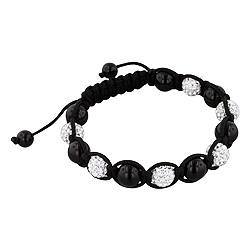 8mm Black Onyx and White Rhinestone Disco Ball Beads 13 Bead Shamballa Bracelet with Black String