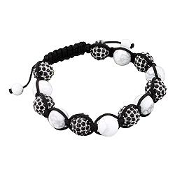 10mm White Reconstructed Turquoise and 11mm Black Rhinestone Disco Ball Beads 13 Bead Shamballa Brac