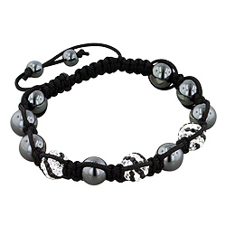 8mm Hematite and Striped White-Black Disco Ball Beads 11 Bead Shamballa Bracelet with Black String