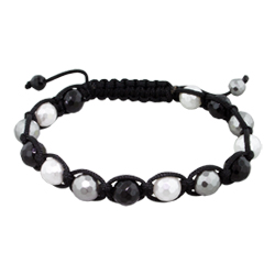 8mm Black, White, and Grey Faceted Mother of Pearl Beads and Black String 14 Bead Shamballa Bracelet
