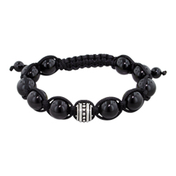 10mm Stainless Steel and 10mm Black Onyx Beads 11 Bead Shamballa Bracelet with Black String