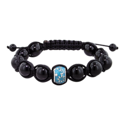 11.5mm Daisies on Blue-Teal Enamel Bead and 10mm Black Onyx Beads 11 Bead Shamballa Bracelet with Bl