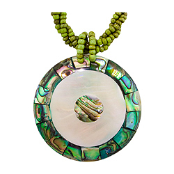 "Abalone Shell and Mother of Pearl Circles Necklace on 18"" Green Rope Bead Cord"