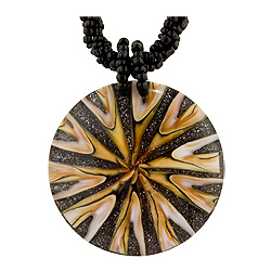 "Resin and Mother of Pearl V-Pattern Necklace on 18"" Black Rope Bead Cord"