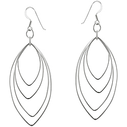 Sterling Silver Cascading Pointed Wire Ovals Dangle Earrings