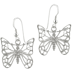 Sterling Silver Textured Finish Cut Out Butterfly Dangle Earrings