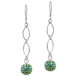 Sterling Silver and Aurora Borealis Lime Green Crystal Glass 8mm Round Disco Ball Dangle Earrings