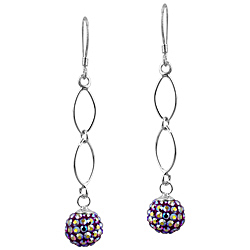 Sterling Silver and Aurora Borealis Ruby Red Crystal Glass 8mm Round Disco Ball Dangle Earrings