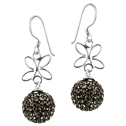 Sterling Silver and Gray Crystal Glass 12mm Round Disco Ball Dangle Earrings with Butterfly Detail