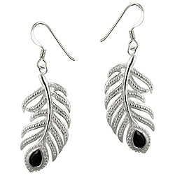 Sterling Silver and Black Pear Shaped Cubic Zirconia Cut Out Feather Dangle Earrings