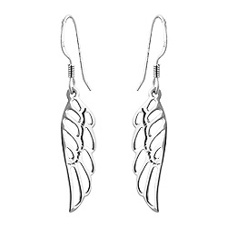 Sterling Silver Angel Wings Dangle Earrings