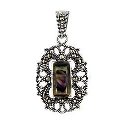 Sterling Silver and Marcasite Oval Filigree Pendant with Abalone Shell Inlay