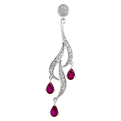 Sterling Silver and Pear Shaped Red Cubic Zirconia Cascading Curls Pendant