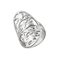 Sterling Silver Filigree Floral Pattern Oval Ring