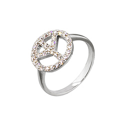 Sterling Silver and Pave Cubic Zirconia Peace Sign Rhodium Finish Ring