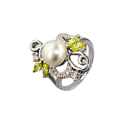 Sterling Silver, White Freshwater Pearl, and Clear and Citrine Cubic Zirconia Floral Design Ring