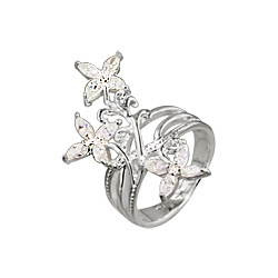 Sterling Silver and Clear Cubic Zirconia Three Flowers Ring