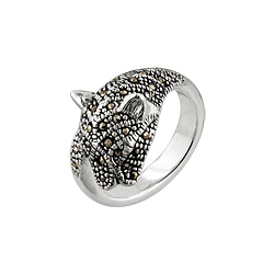 Sterling Silver and Marcasite Panther Head Ring