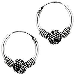 Sterling Silver 12mm Rope Knot Bali Style Hollow Tube Hoop Earrings