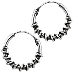 Sterling Silver 12mm Spiral Wrap Bali Style Hollow Tube Hoop Earrings
