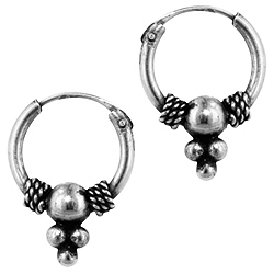 Sterling Silver 11mm Bead Dangle Bali Style Hollow Tube Hoop Earrings