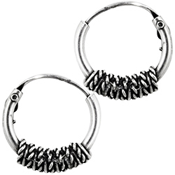 Sterling Silver 12mm Rope Coil Bali Style Hollow Tube Hoop Earrings