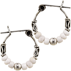 Sterling Silver 15mm Bali Style Hoop Earrings with White Seed Beads