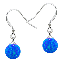 Sterling Silver and Created Opal Blue 8mm Bead Dangle Earrings