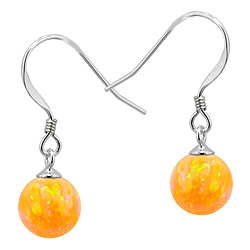 Sterling Silver and Created Opal Yellow 8mm Bead Dangle Earrings