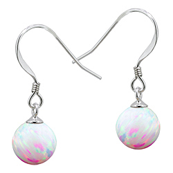 Sterling Silver and Created Opal White 8mm Bead Dangle Earrings