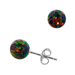 Sterling Silver and Created Opal Rainbow 8mm Bead Stud Earrings