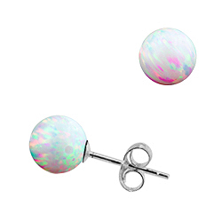 Sterling Silver and Created Opal White 8mm Bead Stud Earrings
