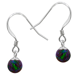 Sterling Silver and Created Opal Blue-Green 6mm Bead Dangle Earrings
