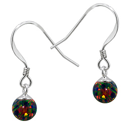 Sterling Silver and Created Opal Rainbow 6mm Bead Dangle Earrings