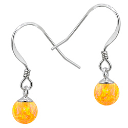 Sterling Silver and Created Opal Yellow 6mm Bead Dangle Earrings