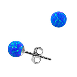 Sterling Silver and Created Opal Blue 6mm Bead Stud Earrings