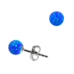 Sterling Silver and Created Opal Blue 5mm Bead Stud Earrings