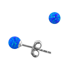 Sterling Silver and Created Opal Blue 4mm Bead Stud Earrings