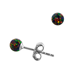 Sterling Silver and Created Opal Rainbow 4mm Bead Stud Earrings