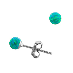 Sterling Silver and Created Opal Green 4mm Bead Stud Earrings