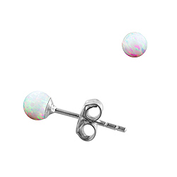Sterling Silver and Created Opal White 3mm Bead Stud Earrings