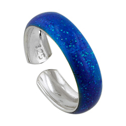 Sterling Silver and Blue Enamel Toe Ring
