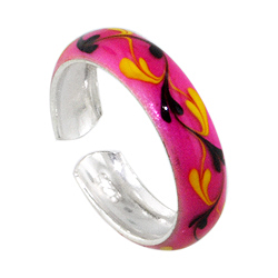 Sterling Silver and Pink Enamel Flowering Vines Toe Ring