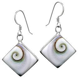 Sterling Silver Diamond-Shaped Dangle Earrings with Eye of Shiva Shell